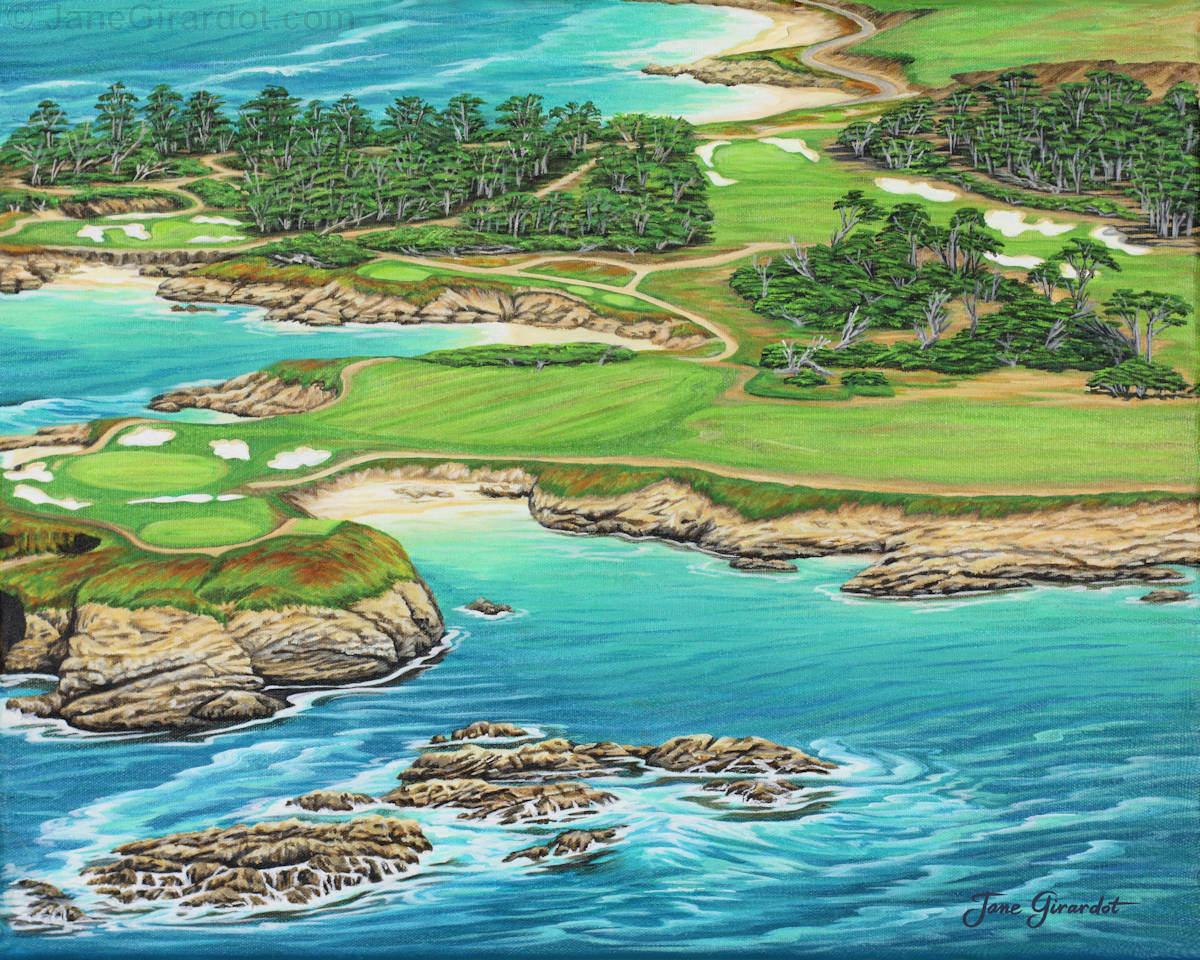 Pebble Beach 15th Hole - South - Jane Girardot Art